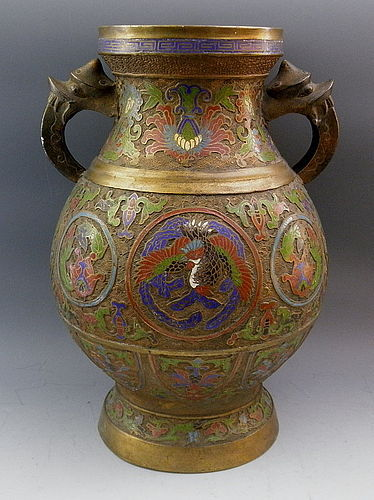 Large Antique Japanese Champleve Bronze Urn Vase With Gold Gilt